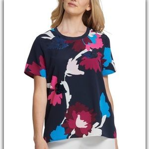 DKNY Women's Sequined Tee Blouse Top